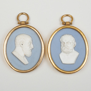 Two Wedgwood & Bentley Blue and White Jasperware Portrait Medallions of Xenocrates or Thales