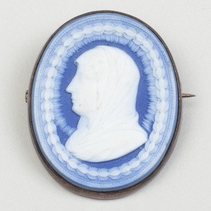 Wedgwood & Bentley Blue and White Jasperware Oval Cameo Mounted as a Pendant Brooch