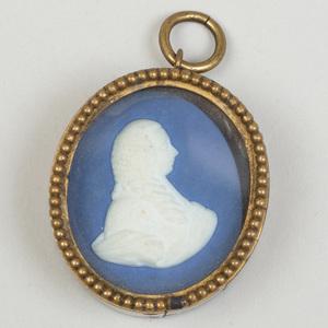 Wedgwood & Bentley Blue and White Jasperware Portrait Medallion of Charles Platt, 1st Earl of Camden