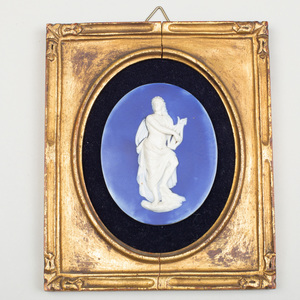 Wedgwood & Bentley Blue and White Jasperware Portrait Medallion of Apollo