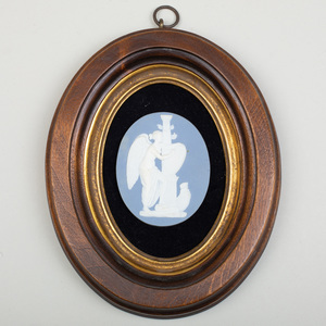 Wedgwood & Bentley Blue and White Jasperware Oval Medallion of Fame