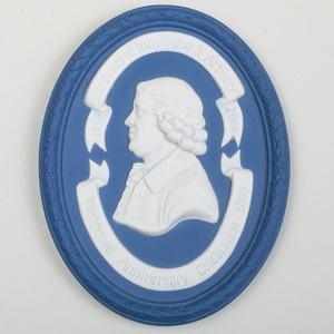 Wedgwood Blue and White Jasperware Commemorative Oval Portrait Medallion of Josiah Wedgwood