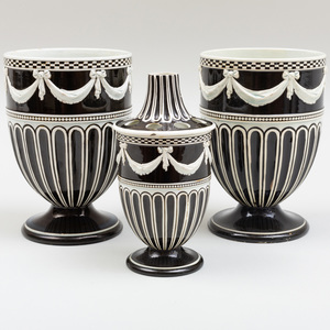 Pair of Wedgwood Pearlware Pots and a Similar Pot and Cover