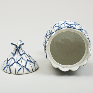 Wedgwood Pearlware Blue and White Artichoke Custard Cup and Cover