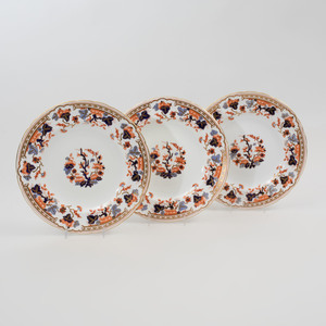 Set of Eighteen Royal Crown Derby Transfer Printed and Gilt Decorated Porcelain Lunch Plates in an 'Imari' Pattern