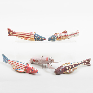 Group of Five American Painted Wood Fish Lures
