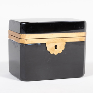 Continental Gilt-Metal-Mounted Onyx Glass Table Casket