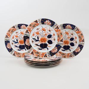 Set of Sixteen Sadek Transfer Printed and Gilt Porcelain Dinner Plates in an 'Imari' Pattern