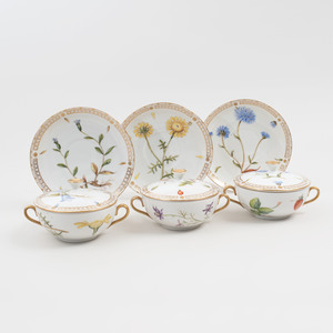Set of Eleven Bing and Grondahl Painted and Gilt Decorated Botanical Porcelain Soup Bowls, Covers and Underplates