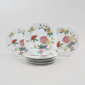 Set of Twenty Limoges Transfer Printed Porcelain Octagonal Dessert Plates