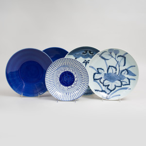 Set of Nine Chinese Blue Glazed Porcelain Plates and a Group of Ten Asian Blue and White Glazed Dishes
