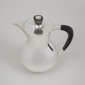 Gorham Silver Coffee Pot and Cover with Ebonized Wood Handle and Finial