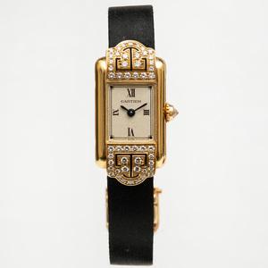 Cartier 18k Gold and Diamond Mini-Tank Wristwatch