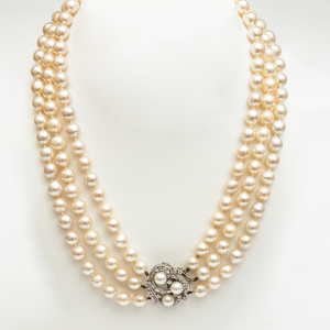 Triple Strand Platinum, Cultured Pearl and Diamond Necklace