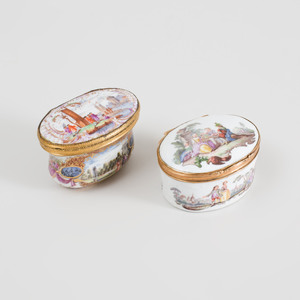 Two Meissen Gilt-Metal Mounted Porcelain Pictorial Snuff Boxes