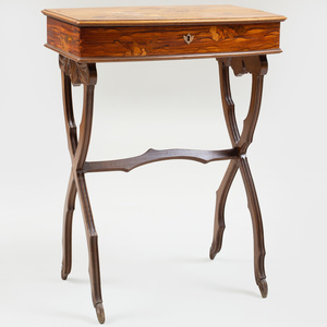 Art Nouveau Walnut and Fruitwood Marquetry Vanity Table