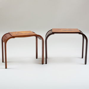 Two Gallé Walnut and Fruitwood Marquetry Top Tables