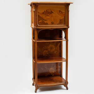 Gallé Art Nouveau Walnut and Fruitwood Marquetry Cabinet