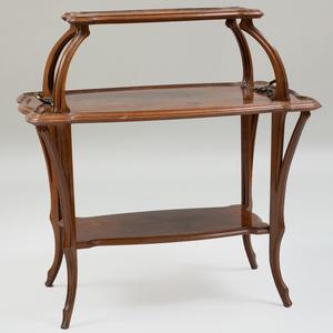 Gallé Art Nouveau Walnut and Fruitwood Marquetry Tea Table