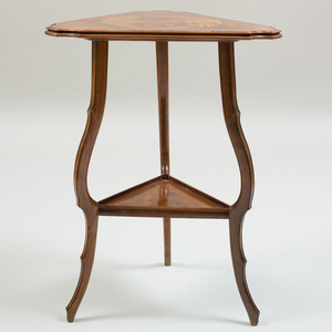 Art Nouveau Walnut and Fruitwood Marquetry Triangular Top Table Depicting Joanne of Arc