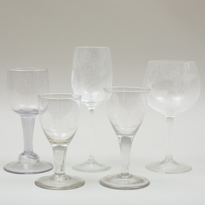 Group of Five Wine Glasses