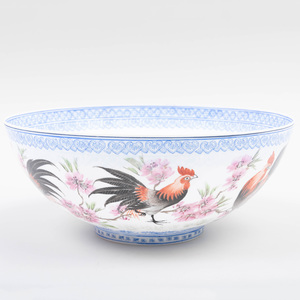 Chinese Famille Rose Eggshell Porcelain Bowl with Cockrels