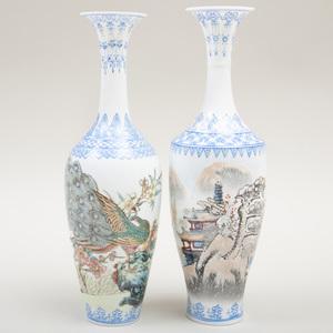 Pair of Chinese Transfer Printed Eggshell Porcelain Vases
