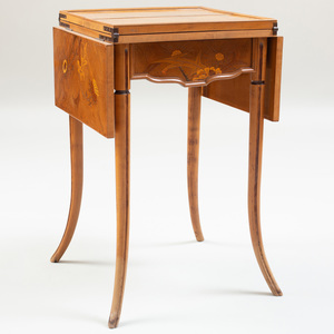 Art Nouveau Walnut and Fruitwood Marquetry Double Drop Leaf Table