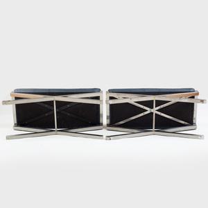 Pair of Chrome X-Form Stools, Modern