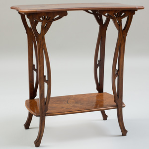 Art Nouveau Rosewood and Fruitwood Marquetry Concave Sided Two-Tiered Table