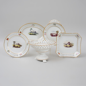 English Porcelain Reticulated Part Dessert Service