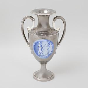 Large Two Handled Creamware Lustre Vase