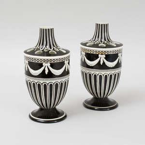Pair of Wedgwood Pearlware Black Ground Flower Pots and Fluted Covers
