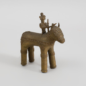 Benin Style Bronze Horse and Rider Group