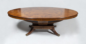 Brass-Mounted Inlaid Fruitwood Pedestal Dining Table