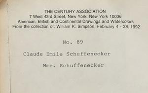 Claude-Émile Schuffenecker (1851-1934): Portrait of Mme. Schuffenecker