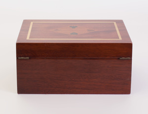 Asprey Brass and Fruitwood Inlay Mahogany Gaming Box, of Recent Manufacture