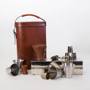 Assembled Gentleman's Leather Picnic Set