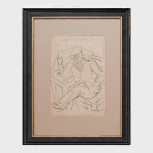 Maria Marevna (1892-1984): Homme au Café, Cagnes