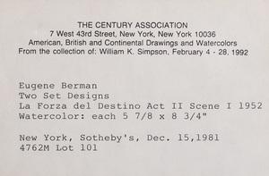 Eugene Berman (1899-1972):  Two Sets Designs for La Forza del Destino