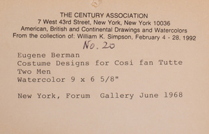 Eugene Berman (1899-1972): Design for Cosi Fan Tutte