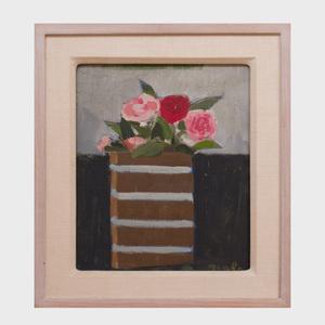 Janice Biala (1903-2000): Roses Sur Fond Gris et Noir