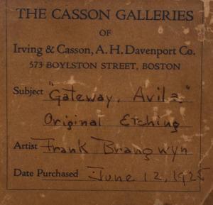 Sir Frank Brangwyn (1867-1956): Gate of St. Vincent, Avila