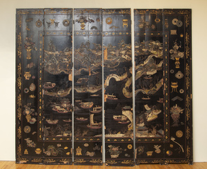Chinese Black Lacquer and Polychrome Decorated Six Panel Coromandel Screen