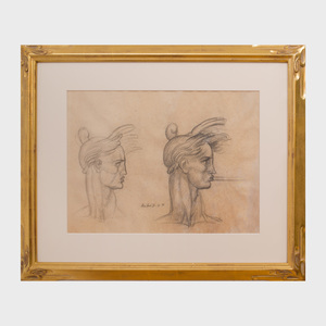 Donald De Lue (1897-1988):Two Male Heads-Study for Trumpeter