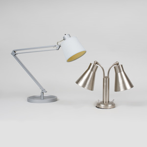 Pair of French Painted Metal Architect's Lamps with Table Clips