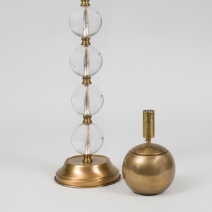 Brass-Mounted Lucite Lamp and a Small Spherical Brass Lamp