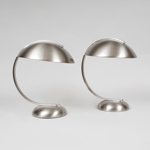 Two Brushed Aluminum Table Lamps, of Recent Manufacture