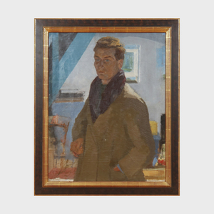 Gustave Patriarche (1909-2001): Portrait d'un homme en manteau