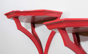 Pair of Coral Red Painted Wall Brackets